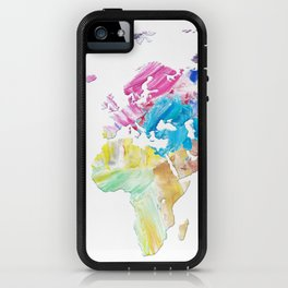 Abstract Colorful World Map Painting iPhone Case
