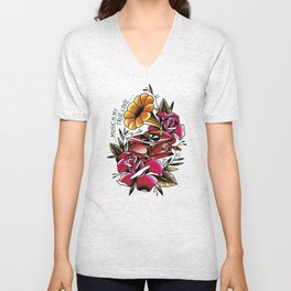 Traditional Roses and Phonograph Unisex V-Neck