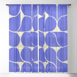 Blue mid-century shapes no8 Sheer Curtain