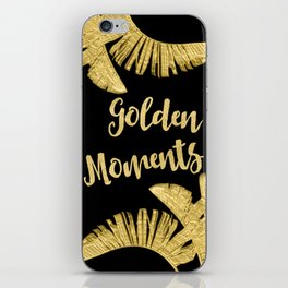 Golden Moments Glamorous Typography And Tropical Leaf iPhone Skin