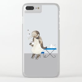 Penguin enjoys coffee Clear iPhone Case