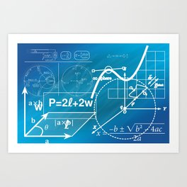 Blue Geometry  Art Print