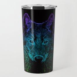 Wolf rainbow drawing animal wildlife hand-drawn artsy Travel Mug