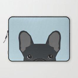 Frenchie art - french bulldog dog art dog portrait cute black french bulldog Laptop Sleeve
