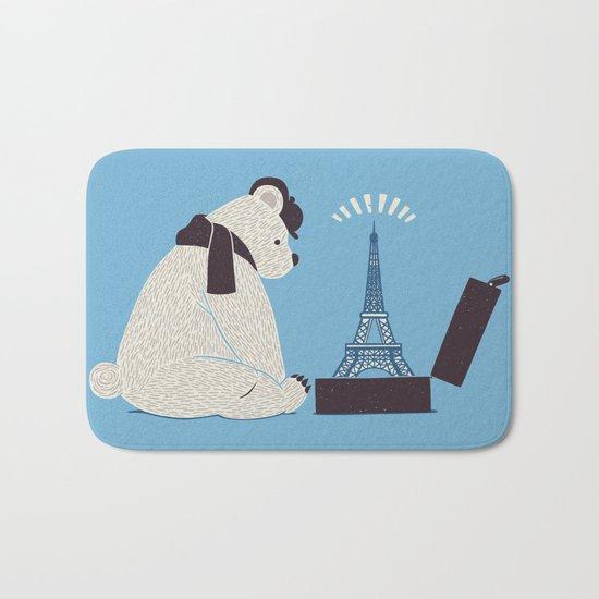 Traveler Tourist Eiffel Tower Bear Paris Bath Mat
