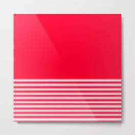 Red Gradient Stripe Metal Print