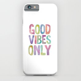 Good Vibes Only Watercolor Rainbow Typography Poster Inspirational childrens room nursery iPhone Case