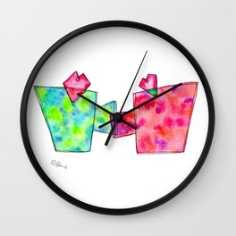 Cup of Love coffee cups illustration watercolor painting love heart drawing kitchen wedding gift Wall Clock