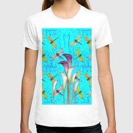 BLUE ART GOLDEN DRAGONFLIES CALLA LILIES T-shirt