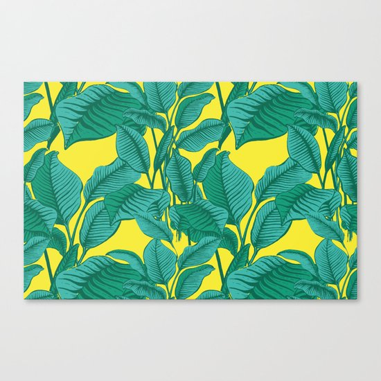 Exotic Tropical Palm Leaf Print - Lime Canvas Print