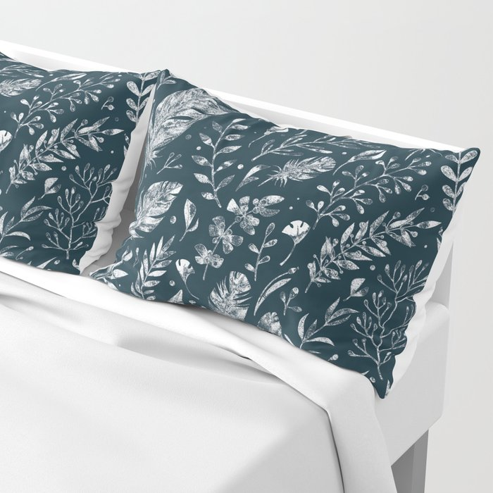 Feathers And Leaves Abstract Pattern Black And White Pillow Sham
