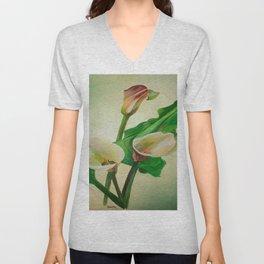Three Calla Lilies Unisex V-Neck
