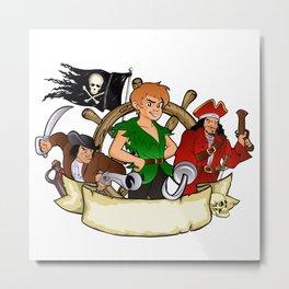 Peter Pan and the pirates emblem Metal Print