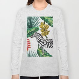 watercolor banana leaves with zebra Long Sleeve T-shirt