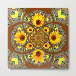 OPTICAL ART BROWN-GREY SUNFLOWERS Metal Print