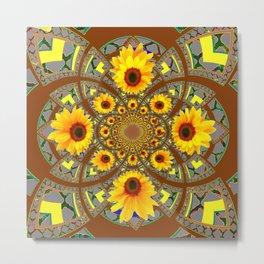 OPTICAL ART BROWN-GREY SUNFLOWERS Metal Print