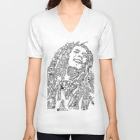 marley V-neck T-shirts featuring Marley by Ron Goswami
