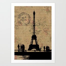 EIFFEL TOWER FRENCH COLLAGE Art Print