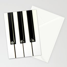 Acoustic piano keys from top angle view Stationery Cards