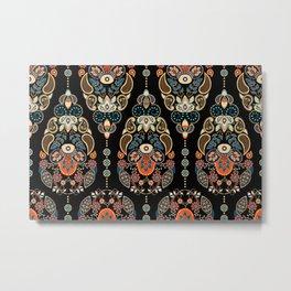 Boho Floral Egg Pattern Metal Print