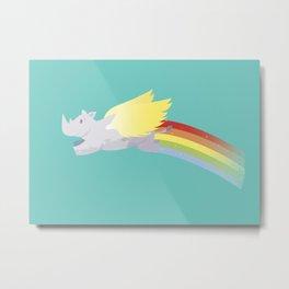 Flying Rhino Metal Print