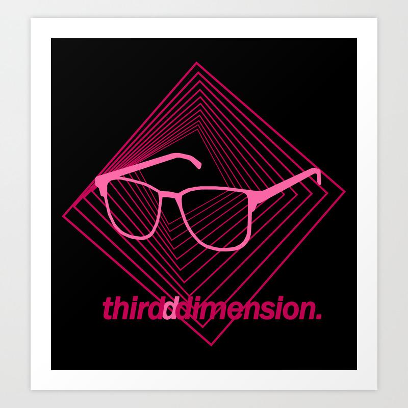 Third Dimension - Neon Laser Pink Art Print by Lukasarts PRN8872170
