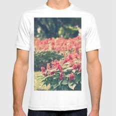 In red MEDIUM Mens Fitted Tee White