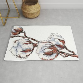 Cotton in Watercolor and Ink Rug