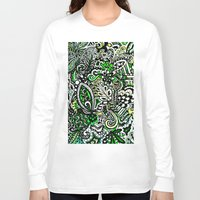 green pattern Long Sleeve T-shirts featuring Green Pattern by Marcela Caraballo
