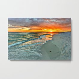 Orange Sunset Green Waves Beach Fine Art Prints Metal Print
