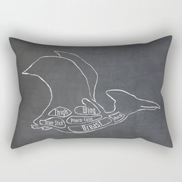 Pterodactyl Dinosaur (A.K.A Flying Reptile - Pterodactylus) Butcher Meat Diagram Rectangular Pillow