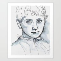 Portrait in watercolor and ink Art Print