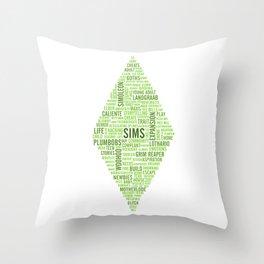Sims Plumbob Typography Throw Pillow