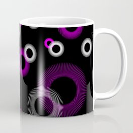 Pink White Starburst Sunburst Black Coffee Mug