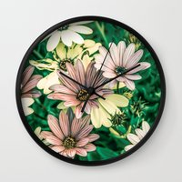 daisies Wall Clocks featuring Daisies by Loredana