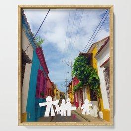 C for Cartagena Fun Cut Out Cartagena Street Print Serving Tray
