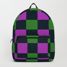 Green & Purple Checkered Plaid Backpack