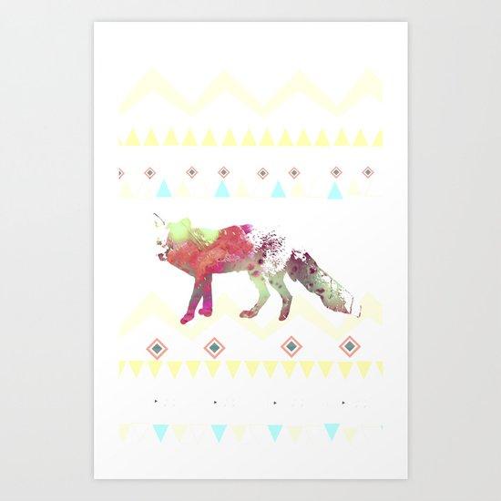 Watercolor native fox Art Print