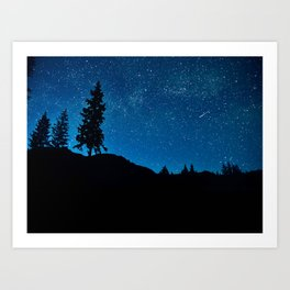 Amazing Blue Ombre Night Sky With Tree Silhouette Art Print