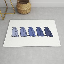 Waddle of Penguins in Blue Tones Rug