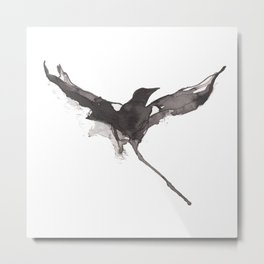 Flying crow Metal Print