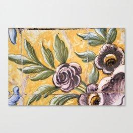 Antique floral ceramic tiles 2 Canvas Print