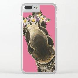 Pink Donkey Art, Flower Crown Donkey Art Clear iPhone Case