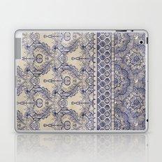 Vintage Wallpaper - hand drawn patterns in navy blue & cream Laptop & iPad Skin