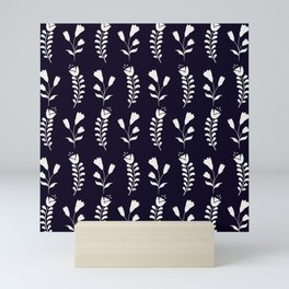 Simple Scandinavian folk floral monochrome pattern in black and white Mini Art Print