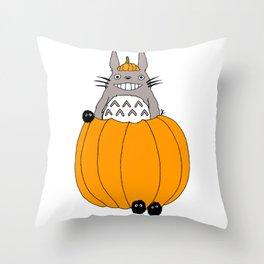 pumpkin ghibli Throw Pillow