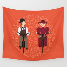 Retro cyclists Wall Tapestry