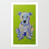 pitbull Art Prints featuring Pitbull by K.ForstnerArt