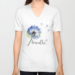 Breathe! Dandelion Floral Botanical Art Unisex V-Neck