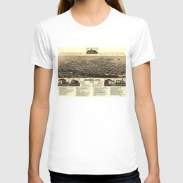 Vintage Pictorial Map of Cheyenne Wyoming (1882) T-shirt